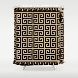 Greek Key (Tan & Black Pattern) Shower Curtain