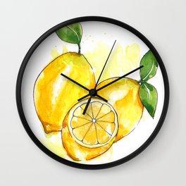 lemon decor watercolor painting Wall Clock