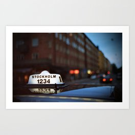 Stockholm Taxi Night Art Print