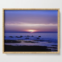 Blue and Purple Sunset on the Sea Serving Tray