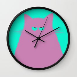 Lilac Cat Wall Clock