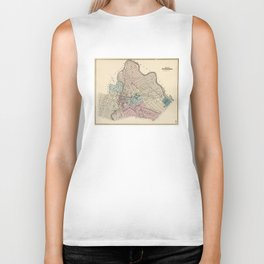 Vintage Map of Paterson New Jersey (1872) Biker Tank