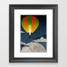 Picnic in a Balloon on the Moon Framed Art Print