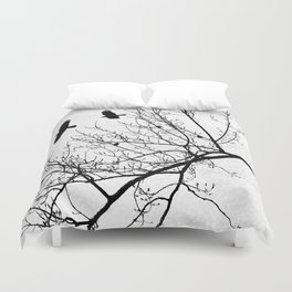 Crows Flying Birds in Tree Branches Black on White Duvet Cover