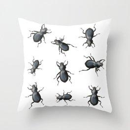 Black Beetles Throw Pillow