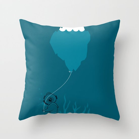 The Diver and his Balloon Throw Pillow