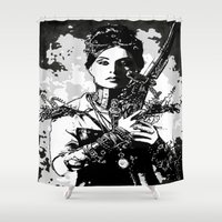 steam punk Shower Curtains featuring Steam punk art, black and white, digital drawings comic style  by Healinglove art products