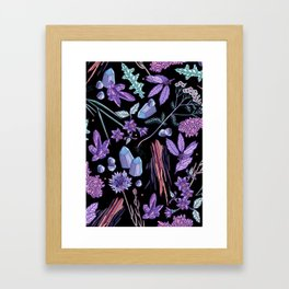 Purple flowers and jewels. Framed Art Print