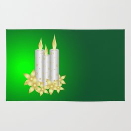 Shiny candles and flowers Rug