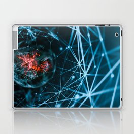 Abstract polygonal neural digital space background with connection structure. 3d rendering Laptop & iPad Skin