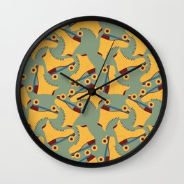 Retro Roller Skate Pattern- Yellow Wall Clock