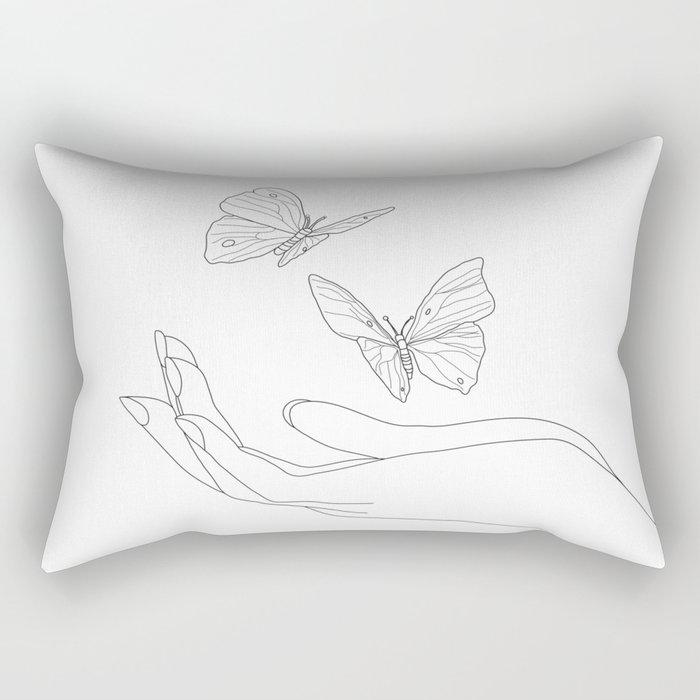 Butterflies on the Palm of the Hand Rectangular Pillow