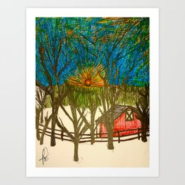 Front yard sunset Art Print