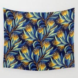 Pohutukawa - Yellow / Blue Wall Tapestry