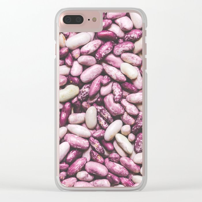 Shiny white and purple cool beans Clear iPhone Case