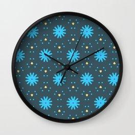 Aqua Multiflower Design Wall Clock