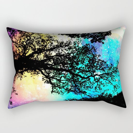 Black Trees Colorful Space bright Rectangular Pillow