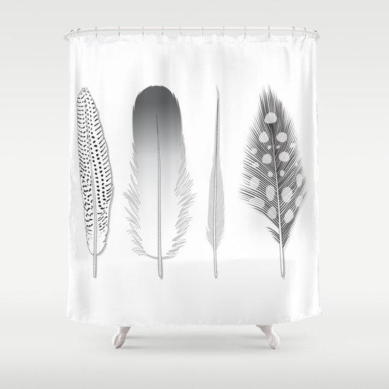 Feathers Trio Shower Curtain