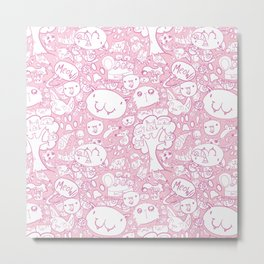 Cat pattern Pink Metal Print