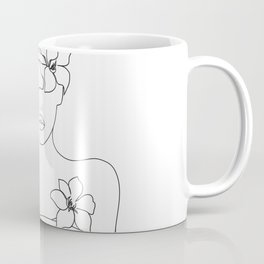 Minimal Line Art Woman with Flowers IV Coffee Mug
