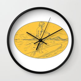 Dude Stand Up Paddle Board Oval Drawing Wall Clock
