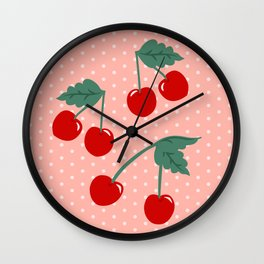 Cherry Kitsch on Pink Wall Clock
