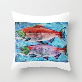 Spawning Red Salmon Throw Pillow