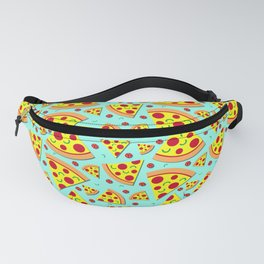 Pepperoni Pizza Slices Pattern on Sky Blue Fanny Pack