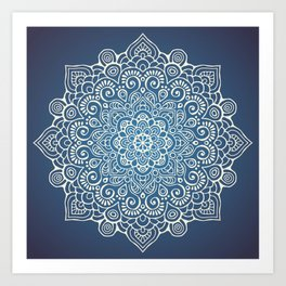 Mandala dark blue Art Print