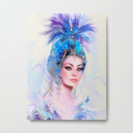 Diva in Blue Metal Print
