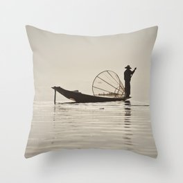Fisherman at Inle Lake Throw Pillow