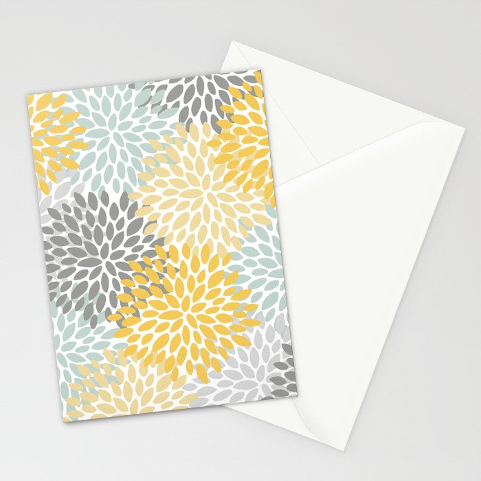 Floral Pattern, Yellow, Pale, Aqua, Blue and Gray Stationery Cards