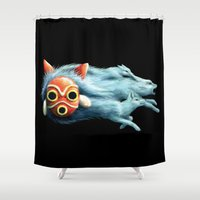 mononoke Shower Curtains featuring Princess Mononoke by Lara Frizzell