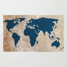 Rustic World Map Rug