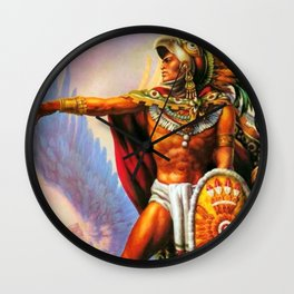 Caballero Aztec Warrior and Eagle Animal Spirit by Jesus Helguera Wall Clock