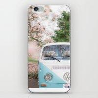 volkswagen iPhone & iPod Skins featuring Vintage Volkswagen Van by Leslee Mitchell