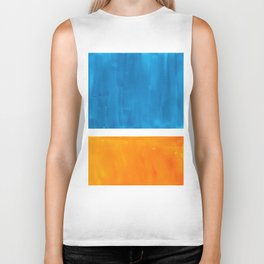 Colorful Jewel Tones Blue Gold Color Block Minimalist Watercolor Art Modern Simple Shapes Biker Tank