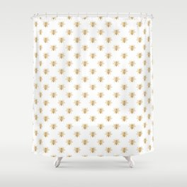 Gold Metallic Faux Foil Photo-Effect Bees on White Shower Curtain