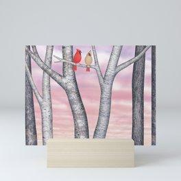 sunset cardinals Mini Art Print
