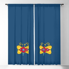 Mariposa Fileteado Porteño Style Gold Colorful Butterfly Blackout Curtain