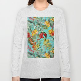 Vintage & Shabby Chic - Colorful Tropical Blue Garden Long Sleeve T-shirt