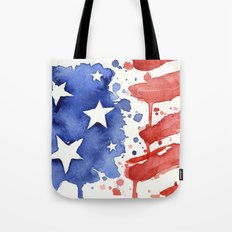 American Flag Watercolor Abstract Stars and Stripes Tote Bag