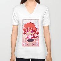 chibi V-neck T-shirts featuring Chibi Hikaru by Neo Crystal Tokyo