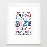 font Framed Art Prints featuring Font Menu by Word Quirk