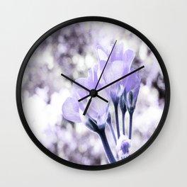 Pastel Periwinkle Flowers Wall Clock
