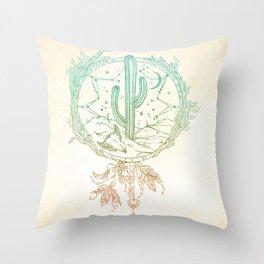 Desert Cactus Dreamcatcher Turquoise Coral Gradient Throw Pillow
