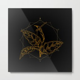 Gold Monstera Obliqua Metal Print