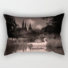 Swan Boats In The Reflection Of Lichfield Cathedral Rectangular Pillow