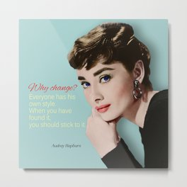 Movie star art - Audrey Hepburn Metal Print