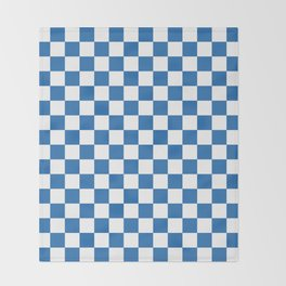 Gingham Azure Strong Blue Checked Pattern Throw Blanket